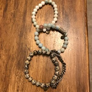 Set of 3 beaded stacker bracelets